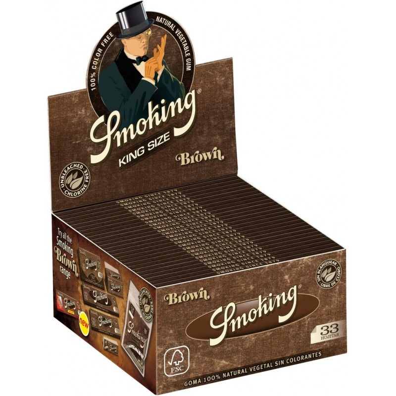 Smoking Brown King Size Long Papers Without Chlorine Box of 50