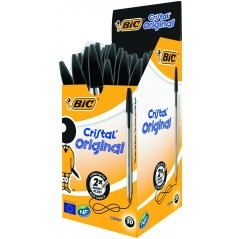 BIC CRISTAL BALLPOINT PEN WITH TIP MM. 1 IN BLACK COLOR