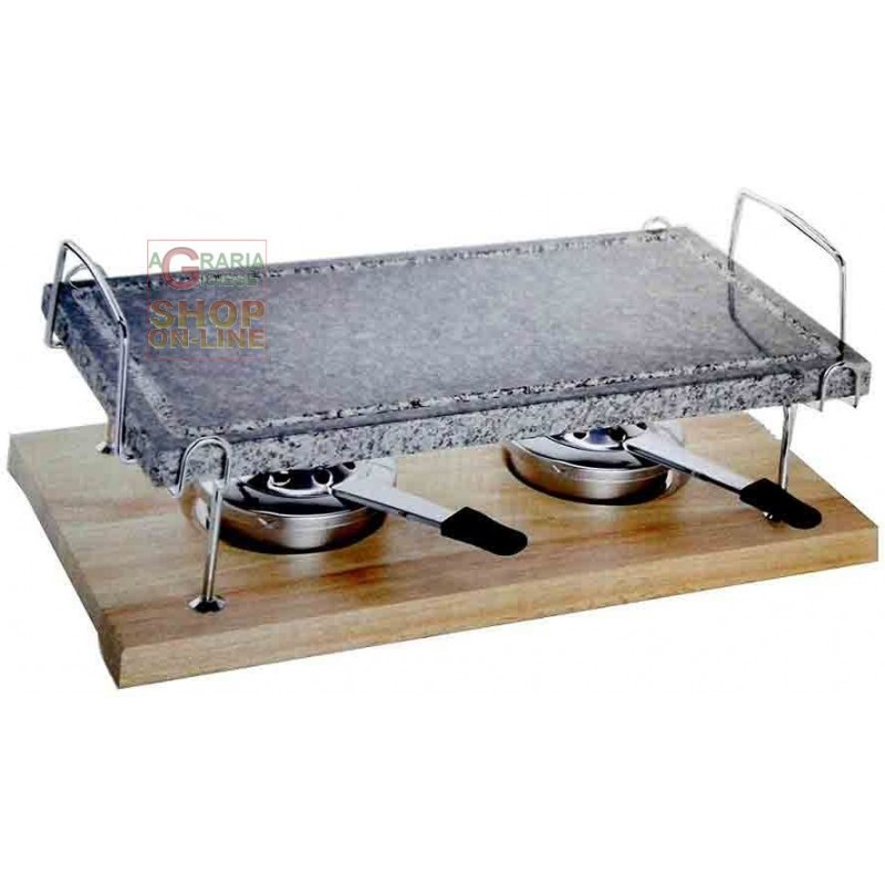 Eva Natural Stone with two burners and support cm. 38x22